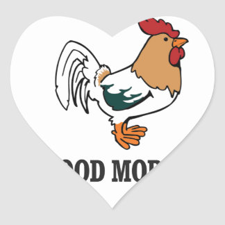 good morning rooster heart sticker