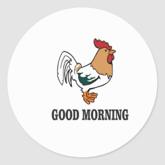 good morning rooster round sticker