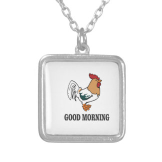 good morning rooster silver plated necklace