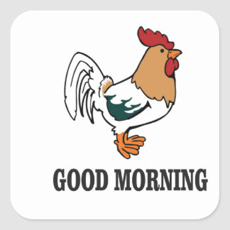 good morning rooster square sticker