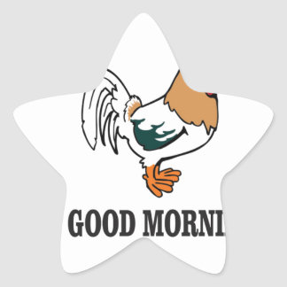 good morning rooster star sticker
