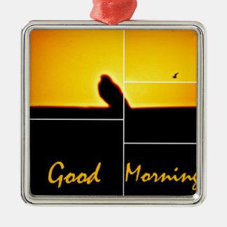 Good Morning Silver-Colored Square Ornament