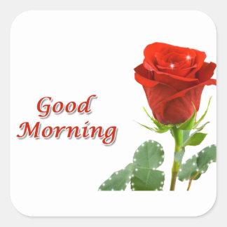 good morning square sticker