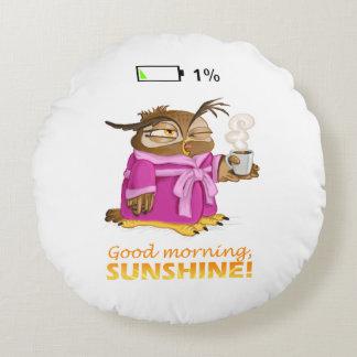 Good morning sunshine owl round pillow