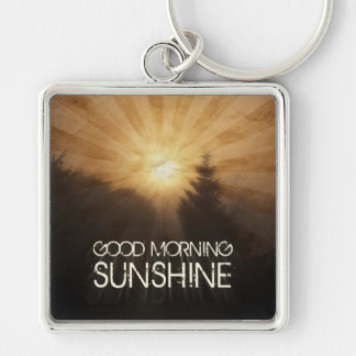 Good Morning Sunshine Silver-Colored Square Keychain