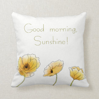 Good morning, Sunshine! Watercolor Yellow Poppies Throw Pillow