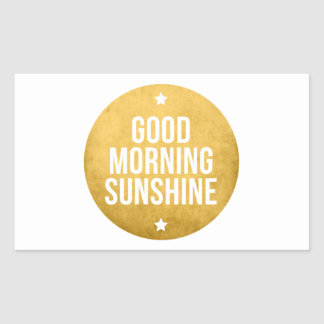 good morning sunshine, word art, text design rectangular stickers