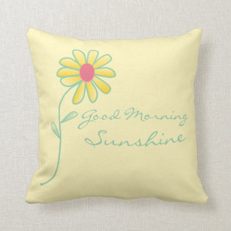 """ Good Morning Sunshine"" Yellow and Green Daisy Throw Pillow"