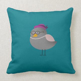 Good Morning Sweet Bird Turquoise Pillow