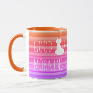 Good Morning White Cat Girly Pink Stripes Cute Mug