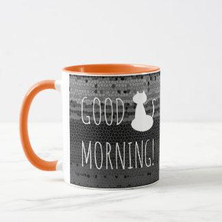 Good Morning White Cat Mosaic Stripes Black Grey Mug