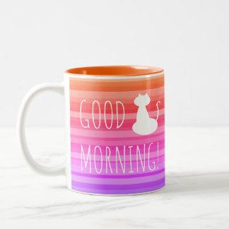 Good Morning White Cat Mug