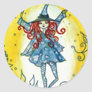 Good Morning Witch Round Stickers