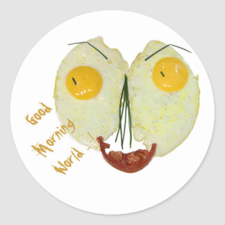 Good morning world egg face round sticker