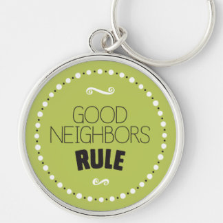 Good Neighbors Rule Keychain – Editable Background