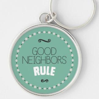Good Neighbors Rule Keychain – Green