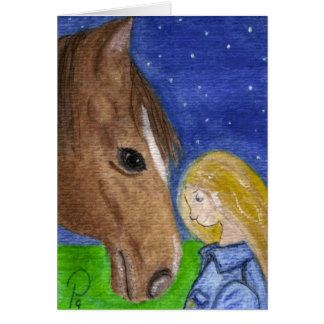 Good Night My Friend Horse and Girl Note Card