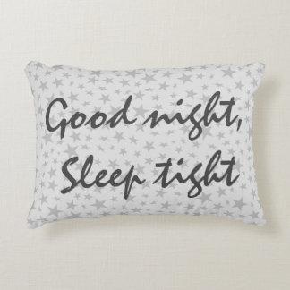 Good Night Sleep Tight Grey Stars Decorative Pillow