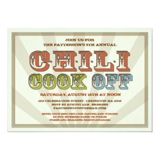 "Good Old Fashioned Chili Cook Off Party Invitation 5"" X 7"" Invitation Card"