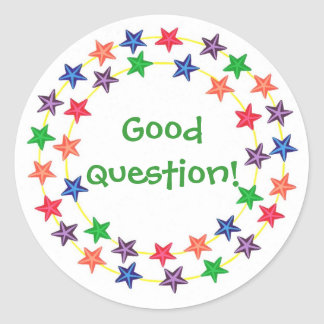 Good question, Circle of colorful stars stickers