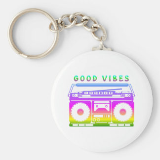 Good Vibes 80's Style Basic Round Button Keychain