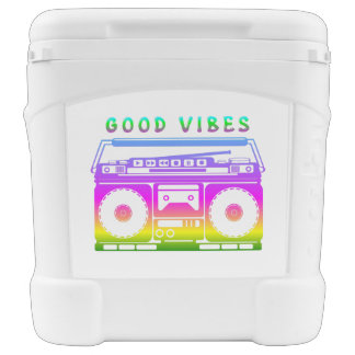 Good Vibes 80's Style Rolling Cooler