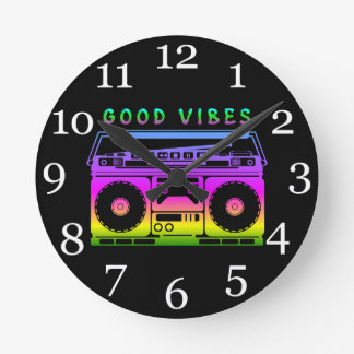 Good Vibes 80's Style Round Clock