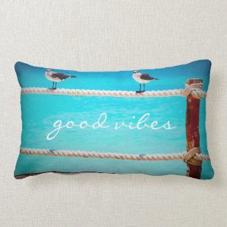 """""""Good vibes"""" beach birds photo lumbar pillow"""
