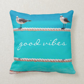 """Good vibes"" beach birds photo throw pillow"
