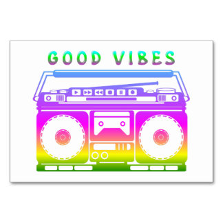 Good Vibes Colorful Stereo Stencil Card