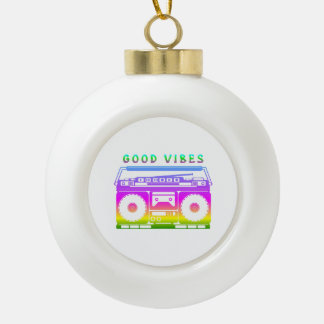 Good Vibes Colorful Stereo Stencil Ceramic Ball Christmas Ornament