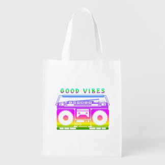 Good Vibes Colorful Stereo Stencil Reusable Grocery Bag
