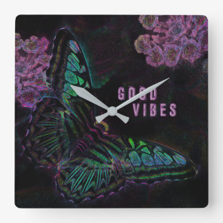 Good Vibes Electric Butterfly Square Wall Clock