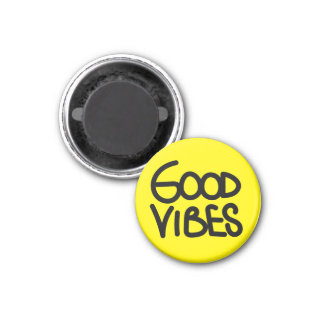 Good Vibes Handwriting (Choose Your Own Color) 1 Inch Round Magnet