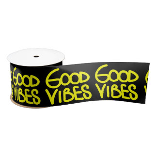 Good Vibes Handwriting (Choose Your Own Color) Satin Ribbon