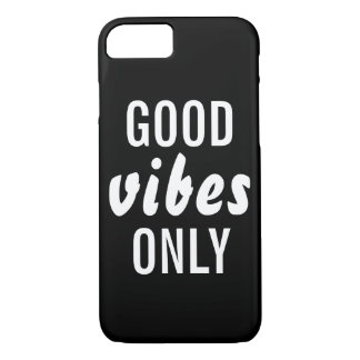 """""""Good Vibes Only"""" Black Barely There iPhone 7 Case"""