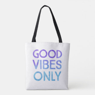 Good Vibes Only blue everyday tote bag