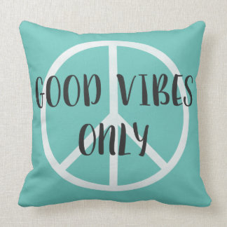 Good Vibes Only Peace Sign with Boho Style Arrows Throw Pillow