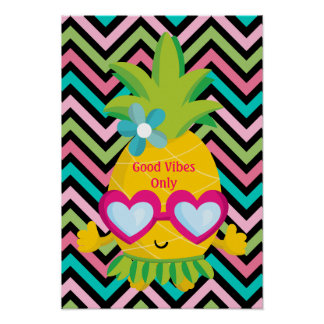 Good Vibes Only Pineapple Stripes Poster