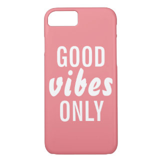 """""""Good Vibes Only"""" Pink Barely There iPhone 7 Case"""