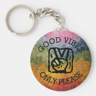 Good Vibes Only Please Peace Rainbow Keychain