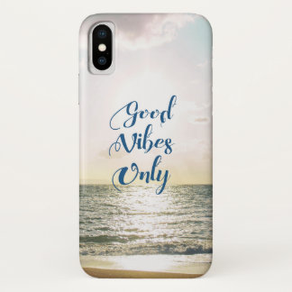 """""""Good Vibes Only"""" Quote Be Positive, Sea Beach Sun iPhone X Case"""