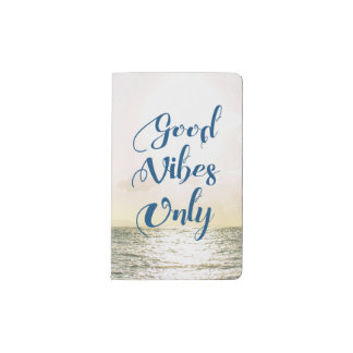 """""""Good Vibes Only"""" Quote Be Positive, Sea Beach Sun Pocket Moleskine Notebook"""