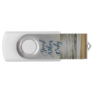 """""""Good Vibes Only"""" Quote Be Positive, Sea Beach Sun Swivel USB 2.0 Flash Drive"""