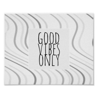 good vibes only quote poster gray and white stripe