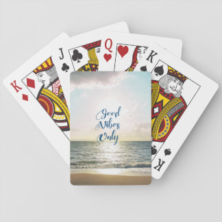 """Good Vibes Only"" Quote Typography Sea Sun Playing Cards"