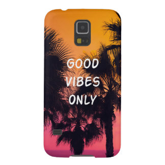 """Good Vibes Only""  Tropical Beach Palms Sunset Case For Galaxy S5"