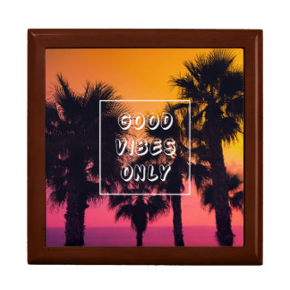 """Good Vibes Only""  Tropical Beach Palms Sunset Gift Box"