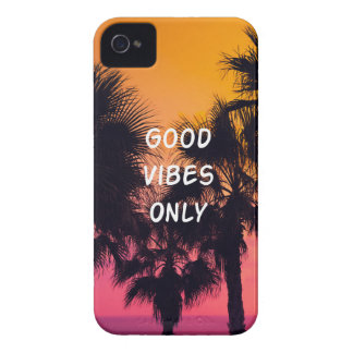 """""""Good Vibes Only""""  Tropical Beach Palms Sunset iPhone 4 Case"""
