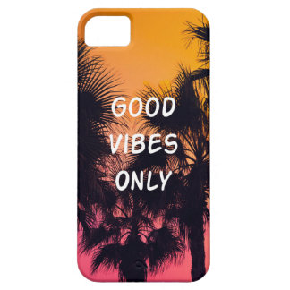 """""""Good Vibes Only""""  Tropical Beach Palms Sunset iPhone 5 Case"""